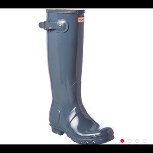 NWOB Hunter Glossy Graphite Tall Rain Boots